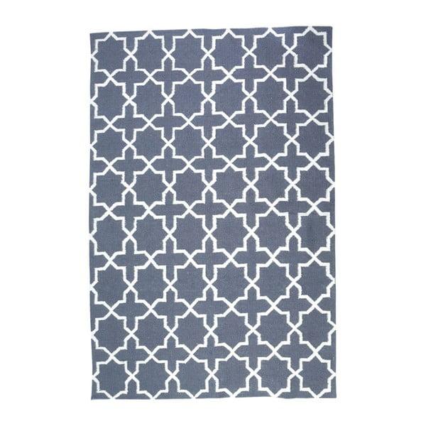 Vlnený koberec Geometry Vintage Cross Grey & White, 160x230 cm