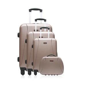 Sada 4 ružových cestovných kufrov na kolieskach Hero Travel