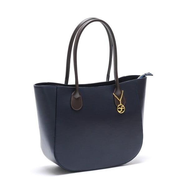 Kožená kabelka Cuco, tmavo modrá