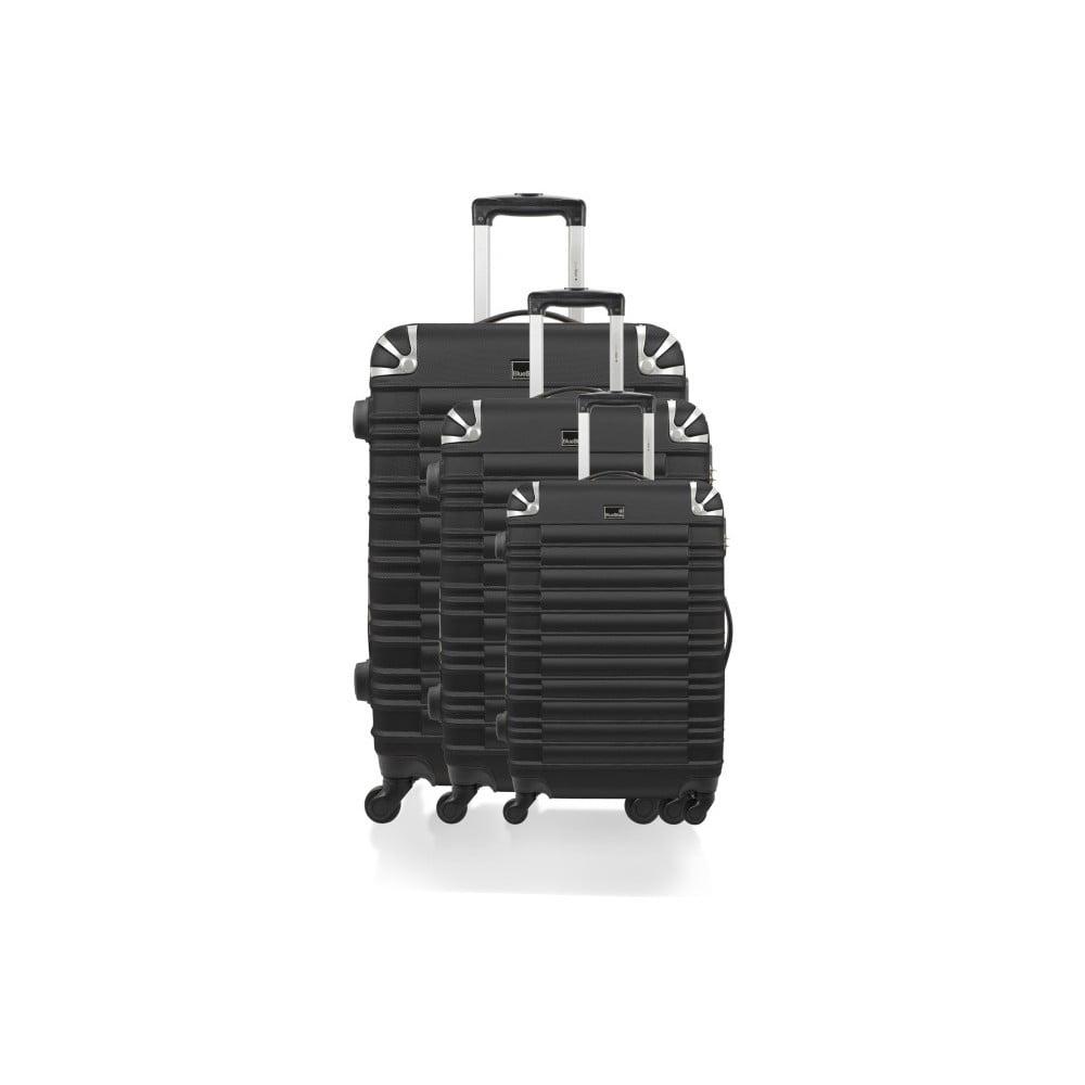 Sada 3 čiernych cestovných kufrov na kolieskach Bluestar Lima