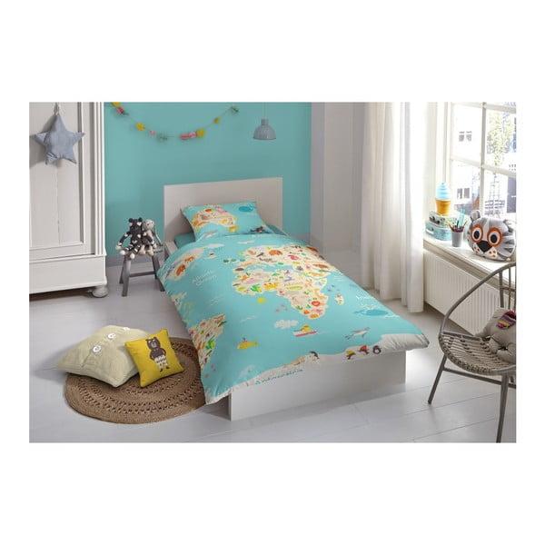 Detské obliečky na jednolôžko z čistej bavlny Good Morning Worl Map, 140 × 200 cm