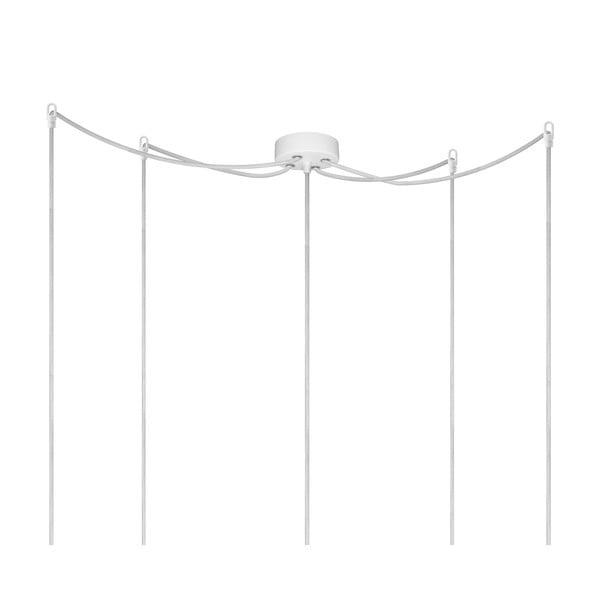 Závesné svietidlo s 5 bielymi káblami a medenou objímkou Bulb Attack Uno