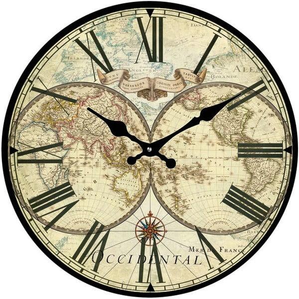Sklenené hodiny Historická mapa, 30 cm