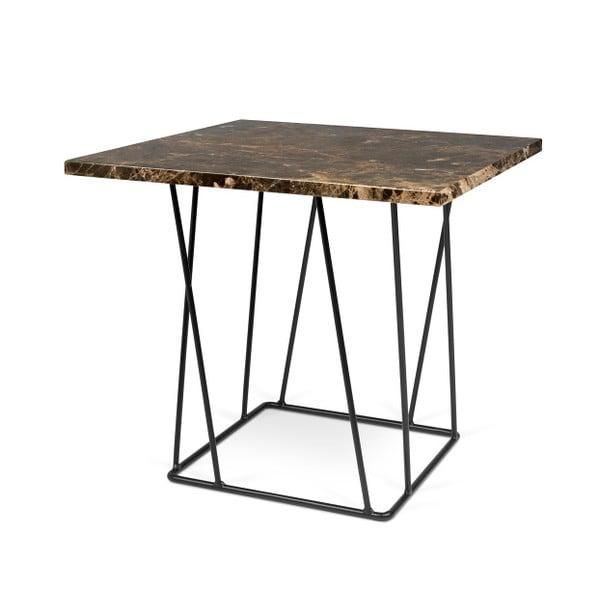 Hnedý mramorový konferenčný stolík s čiernymi nohami TemaHome Helix, 50cm