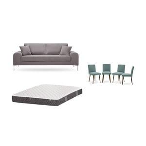 Set trojmiestnej hnedej pohovky, 4 sivozelených stoličiek a matraca 160 × 200 cm Home Essentials