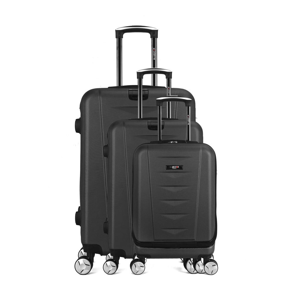 Sada 3 čiernych cestovných kufrov na kolieskach Bluestar Ajaccio