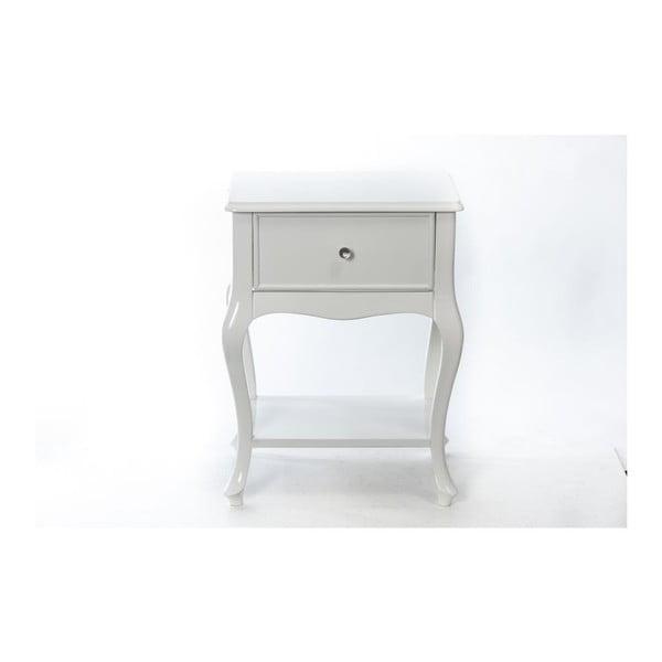 Odkladací stolík Purl White, 44x33x60 cm