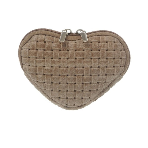 Semišová kapsička na mince Heart Taupe