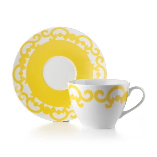 Hrnček s tanierikom Arabesco Yellow