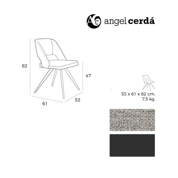 Sivá čalúnená stolička Ángel Cerdá Rotator