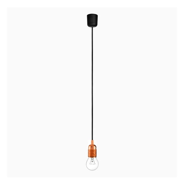 Závesné svietidlo s čiernym káblom a objímkou v medenej farbe Bulb Attack Uno