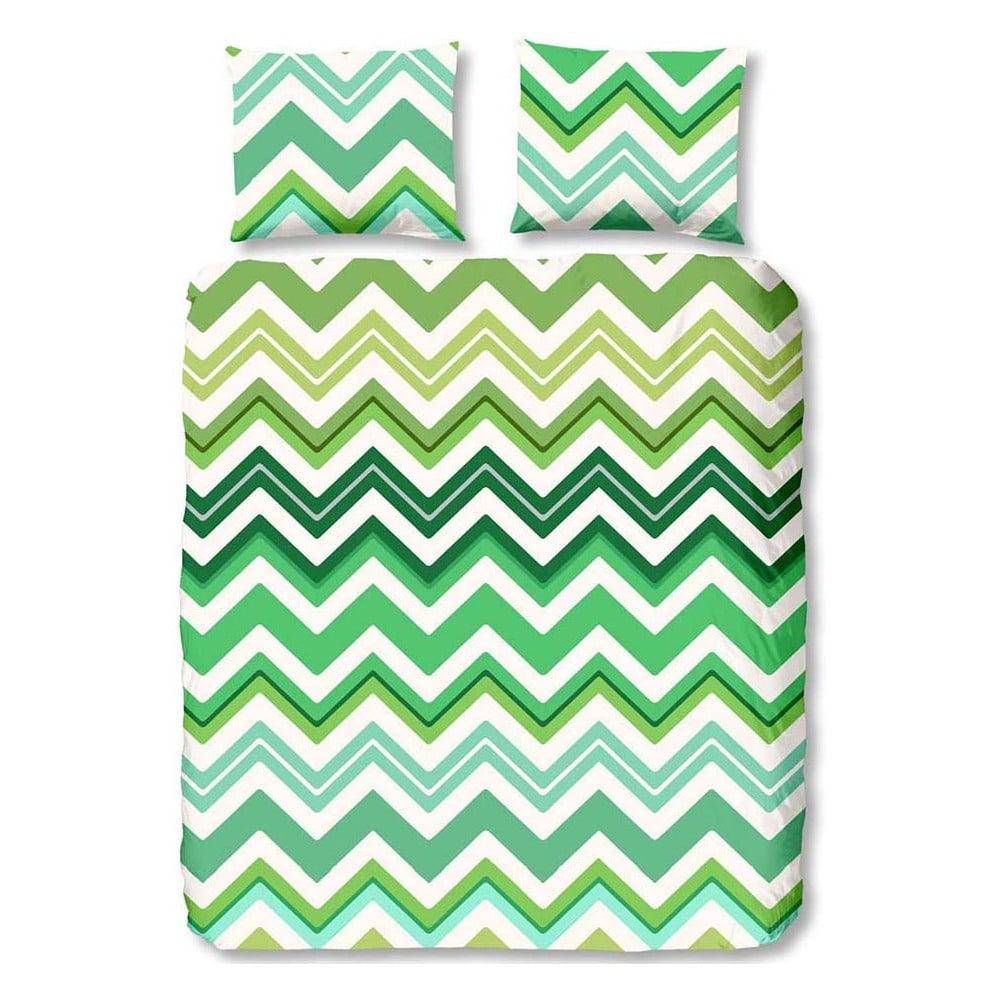 Zelené obliečky na jednolôžko z bavlny Muller Textiels Good Morning Zigzag, 140 × 200 cm