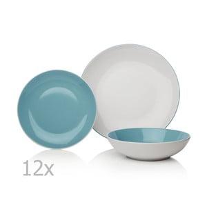 12-dielna modro-biela sada riadu z porcelánu Sabichi Duck Egg
