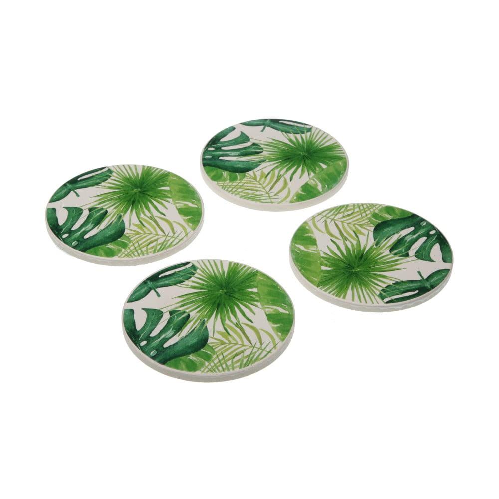 Sada 4 porcelánových podložiek pod poháre Versa New Leafes