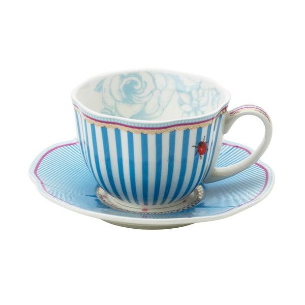 Porcelánová šálka s tanierikom Stripie od Lisbeth Dahl, 2 ks