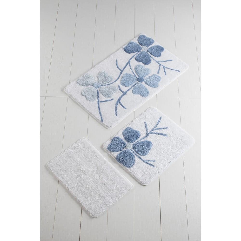 Sada 3 modro-bielych predložiek do kúpeľne Flowers
