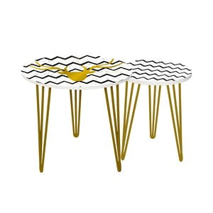 Sada 2 odkladacích stolíkov Gold Deer, 35 cm + 49 cm