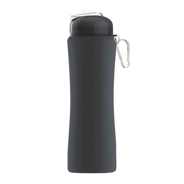 Revolučná športová fľaša Sili-Squeeze, čierna, 650 ml
