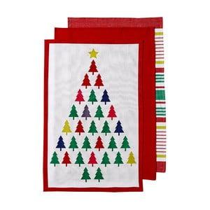 Sada 3 utierok s vianočným motívom Ladelle Bright Christmas Tree, 70 x 45 cm