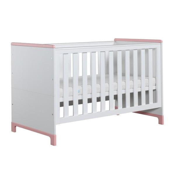 Bielo-ružová variabilná detská postieľka Pinio Mini, 140×70cm