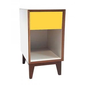 Veľký nočný stolík s bielym rámom a žltou zásuvkou Ragaba PIX