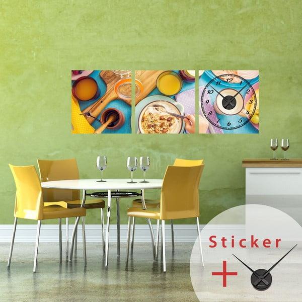 Samolepiace hodiny Delicious Breakfast, 40x120 cm