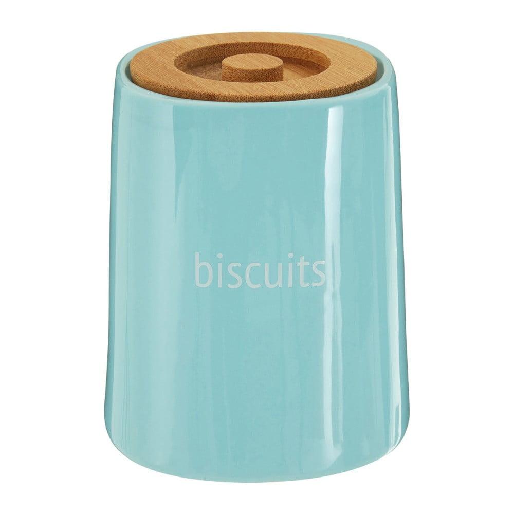 Modrá dóza na sušienky s bambusovým vrchnákom Premier Housewares Fletcher, 1,5 l