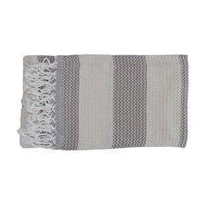 Sivá ručne tkaná osuška z prémiovej bavlny Alya, 100×180 cm