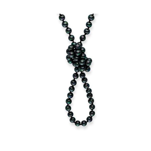 Čierny perlový náhrdelník Pearls Of London Mystic, dĺžka 120 cm