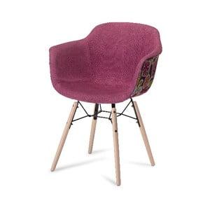 Ružová jedálenská stolička s nohami z bukového dreva Furnhouse Flame