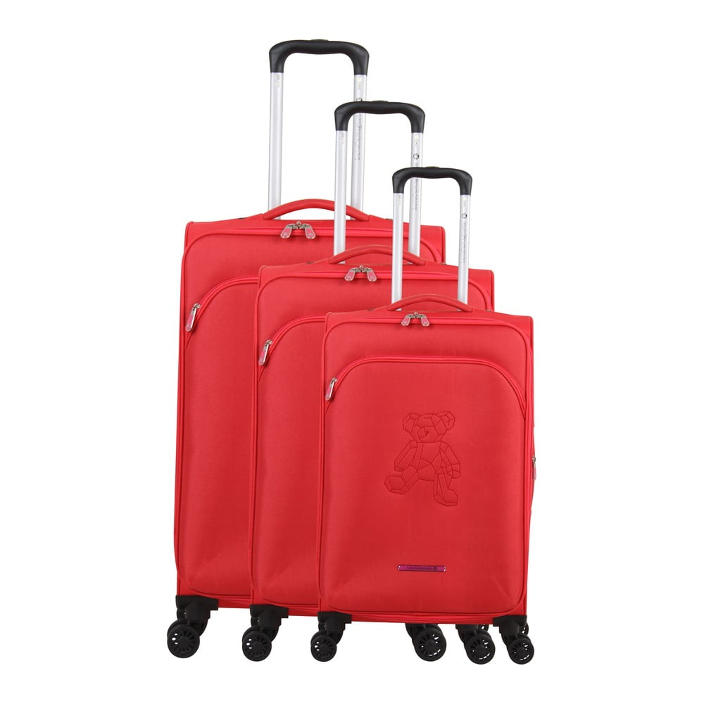 Sada 3 červených kufrov na 4 kolieskach Lulucastagnette Emilia