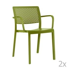 Sada 2 zelených záhradných stoličiek sopierkami Resol Trama