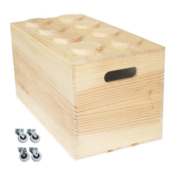 Box na kolieskach Wood Lego, 52x27x27 cm
