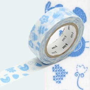 Modro-biela washi páska MT Masking Tape Bird Song