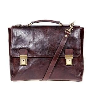 Tmavohnedá kožená ručne vyrobená taška cez rameno Italia in Progress Mitico Lorenzo