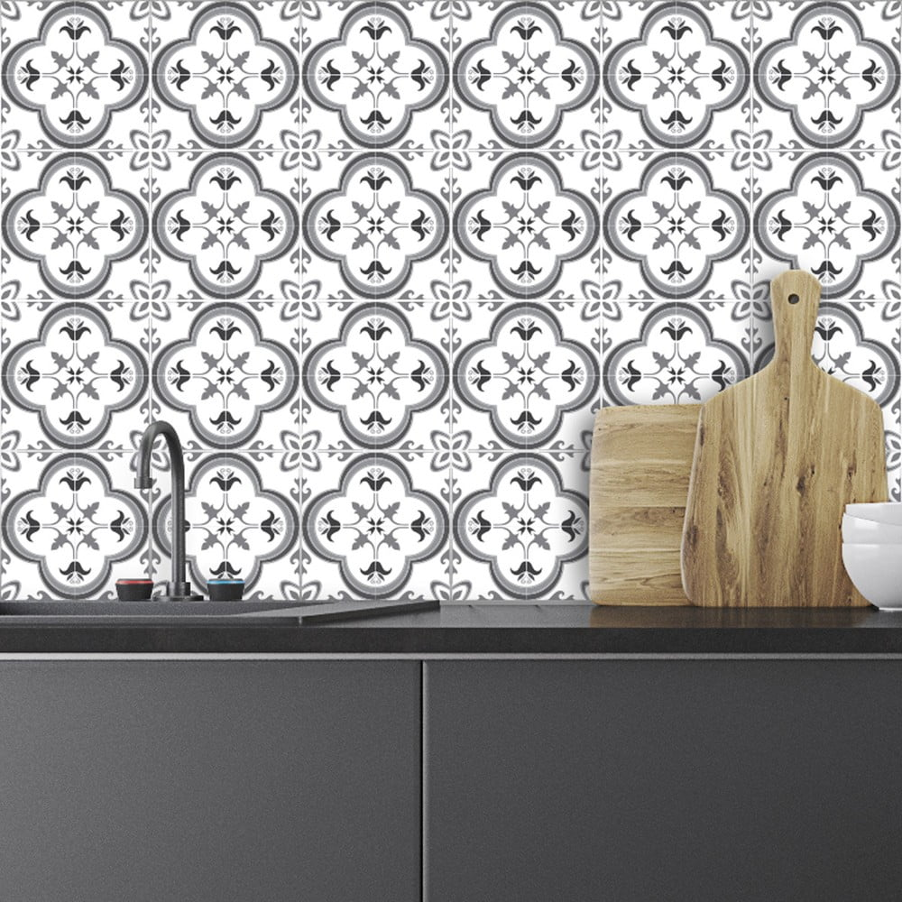 Sada 24 nástenných samolepiek Ambiance Wall Decals Traditional Tiles, 20 × 20 cm