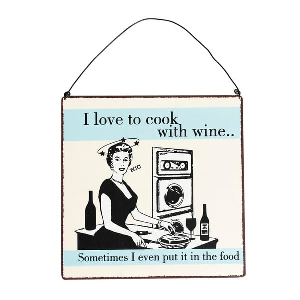 Kovová ceduľka Rex London Cook With Wine