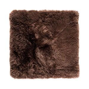 Hnedý štvorcový koberec z ovčej vlny Royal Dream Zealand, 70×70cm
