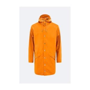 Oranžová unisex bunda s vysokou vodeodolnosťou Rains Long Jacket, veľkosť L / XL