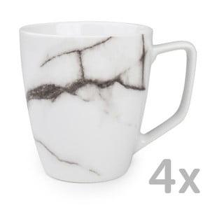 Sada 4 bielych hrnčekov Salt&Pepper Marble, 0,36ml