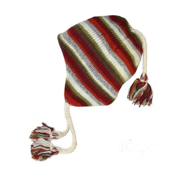 Vlnená čiapka s ušami Farebné pruhy