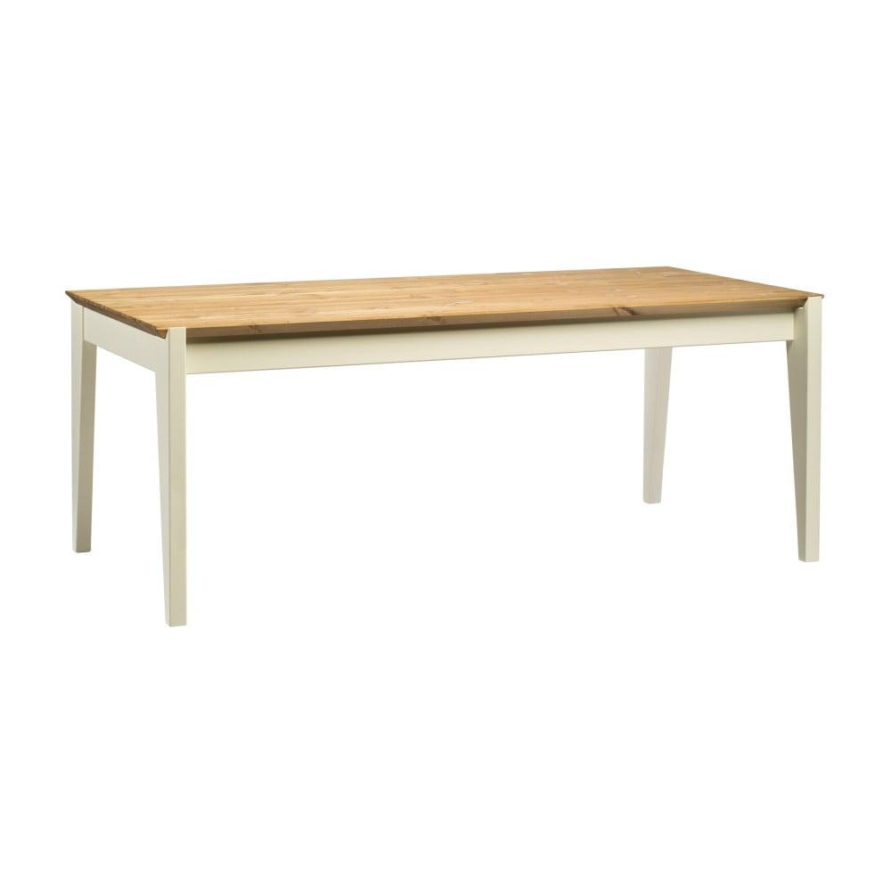 Stôl z borovicového dreva s bielymi nohami Askala Hook, dĺžka 190 cm