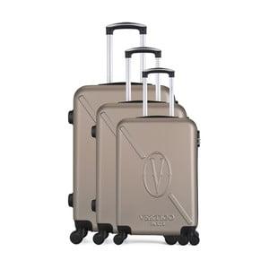 Sada 3 hnedobéžových cestovných kufrov na kolieskach VERTIGO Cadenas Integre Moues