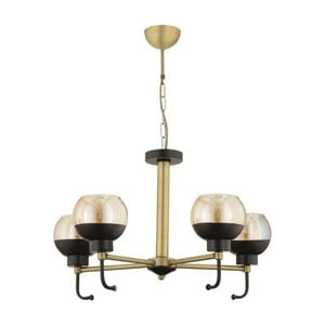 Čierno-zlaté závesné svietidlo Masivworks Luxaro