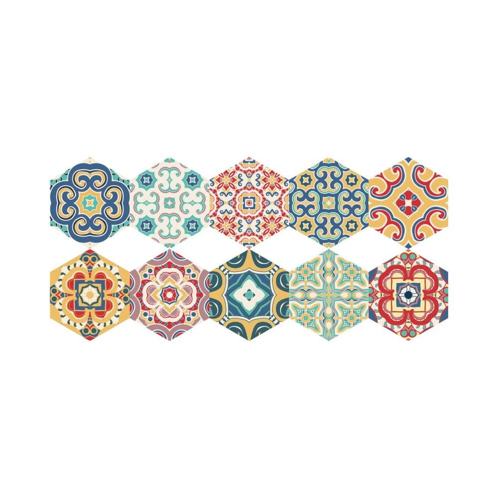 Sada 10 samolepiek na podlahu Ambiance Floor Stickers Hexagons Lorena, 40 × 90 cm