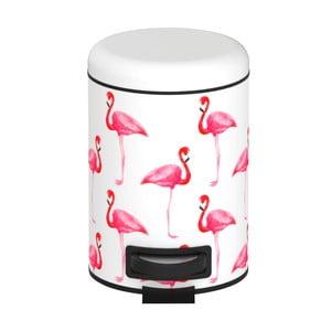 Biely odpadkový kôš s pedálom Wenko Flamingo, 3 l