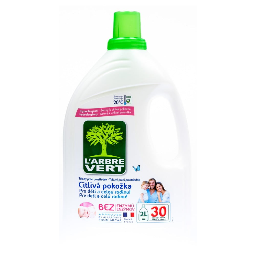 Ekologický prací gél pre citlivú pokožku, L´Arbre Vert Sensitive, 2 l