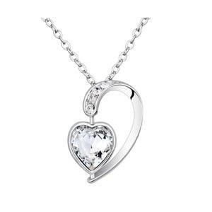 Náhrdelník s bielymi krištáľmi Swarovski Elements Crystals Heart Drop