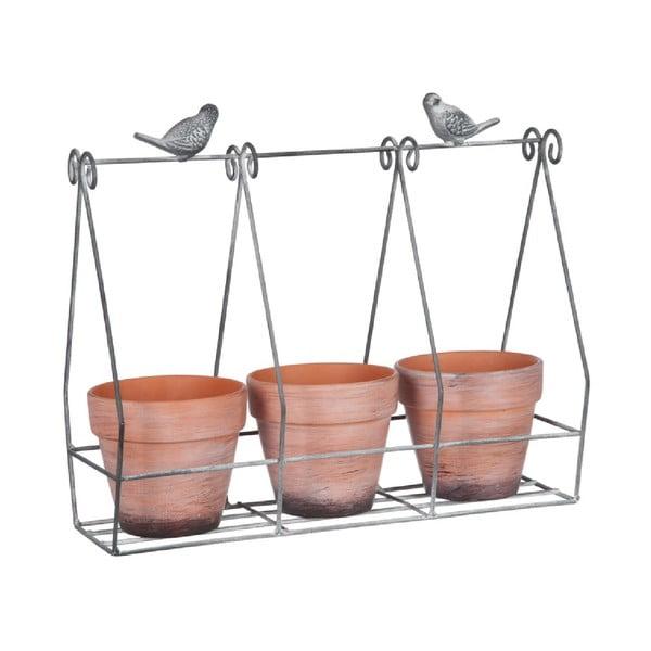 Sada 3 kvetináčov na stojane Rack