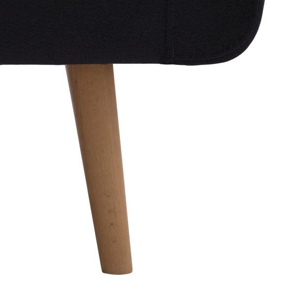 Tmavosivá trojmiestna pohovka VIVONITA Sondero, ľavá strana a prírodné nohy